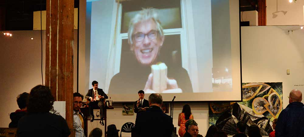 Jaap Blonk skypes in to the John Cage Centenary [photo: Jim Clinefelter]